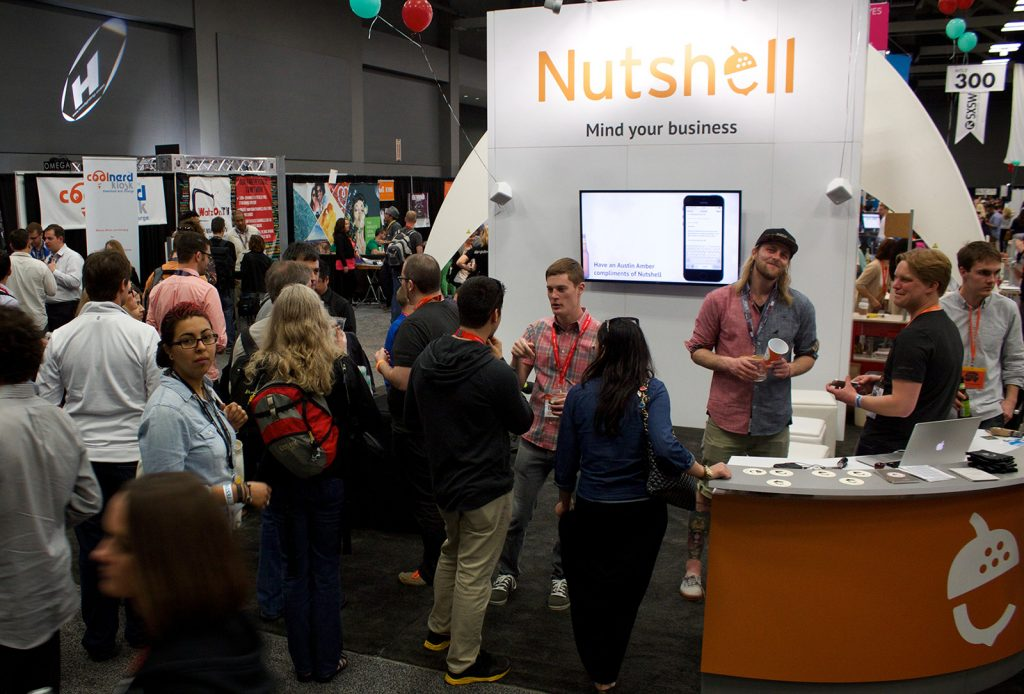 nutshell team sxsw end cap booth nutshell at sxsw