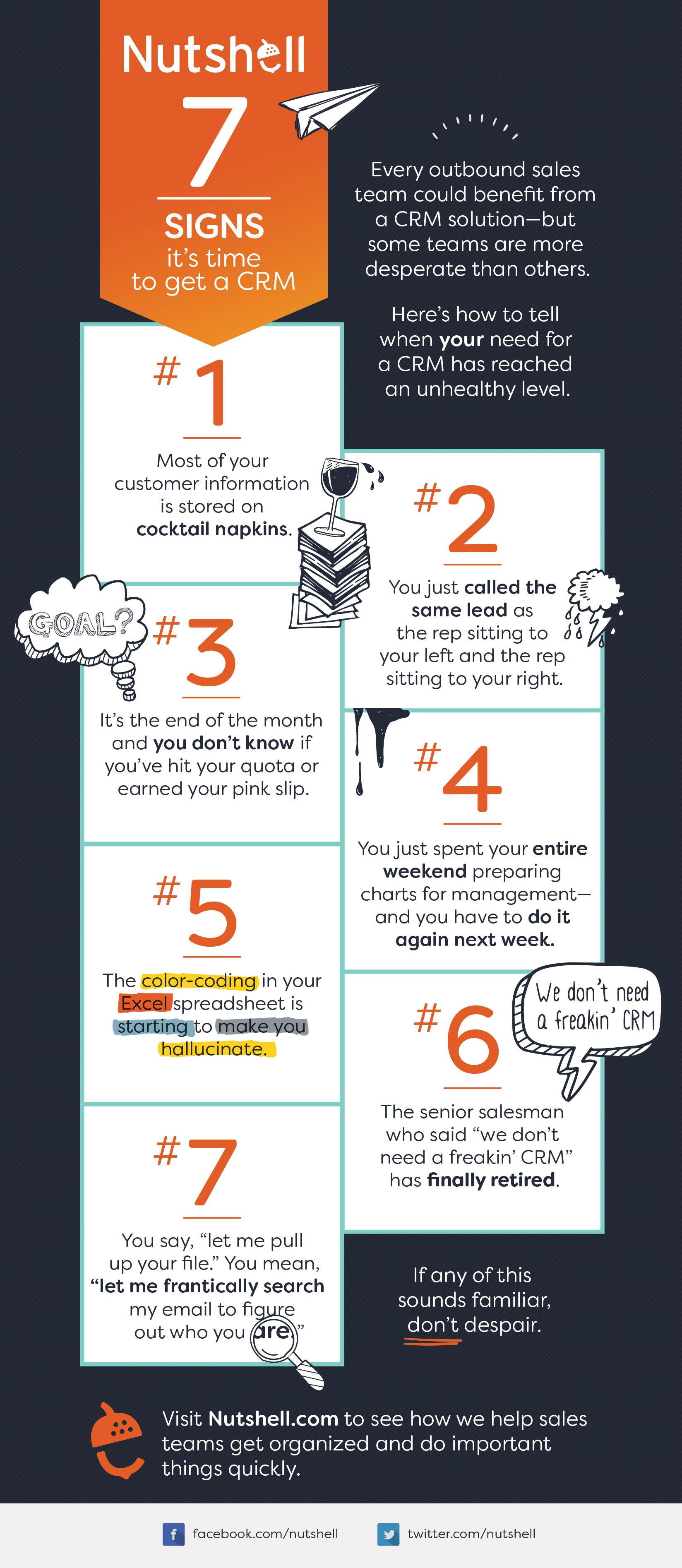 Nutshell 7 signs you need a crm infographic time to get a crm